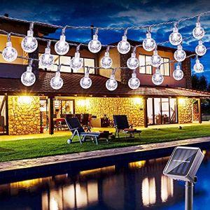Guirlandes Lumineuses, BrizLabs 6.5M 30 LED Guirlande Solaire Exterieure Boules Lampe Solaire 8 Modes Etanche Exterieu Décorative pour Soirée, Mariage, Jardin, Magasin, Maison, blanc froid (VegaHome Direct, neuf)