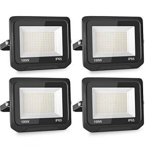 4pcs 100W 10000LM Lumières Extérieures 6500K Projecteur LED Ultra Mince Spot LED Extérieur Projecteur LED Extérieur Blanc Froid Lampe Projecteur IP65 Etanche Câble 0.5M [Classe énergétique A++] (NATUR, neuf)