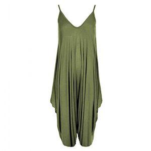 Neuf Femmes Caraco Lagenlook Barboteuse En Vrac Combinaison Sarouel Combinaison Pantalon Grande Taille - Femmes, Kaki, XXL - 48/50 (OG Luxe, neuf)