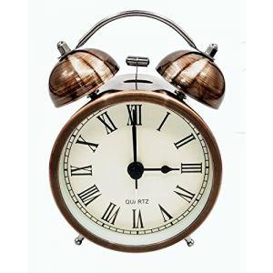 COOJA Vintage Retro Réveil de Voyage Silencieux sans Tic Tac, Analogique Quartz Horloge à Double Cloche Alarme Fort, Reveil Matin à Piles Enfant Kid Sleep (3 Pouces) (Cooja, neuf)