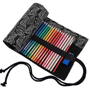 Amoyie - Trousse Feutre de Toile Sac à Crayon Rouleaux pour 72 Crayons de Couleur - Feuille Noire (Les Crayons ne sont Pas fournis) (YhFC, neuf)