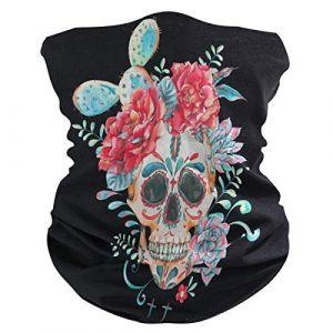QMIN Bandeau Cactus Fleur Sucre Tête de Mort Bandana Visage Soleil Protection Masque Cagoule Magique Cagoule pour Femmes Hommes Garçons Filles (QMIN, neuf)