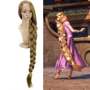 "Princesse Tangled Raiponce 110cm 43.34""Longue Tresse Droite Cosplay Perruques pour Femmes Filles Anime Costume Party Synthétique Perruque BlondDisney Princesse (bilichuanzd, neuf)"