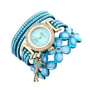 Montre Bracelet Femmes Pas Cher Oyedens Montres Bracelet pour Femme Charme Vintage Weave chaîne Bracelet Femmes Mode Montre-Bracelet Bijoux Cadeaux (Bleu Clair) (Oyedens, neuf)