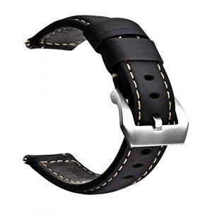 Bracelet de Montre en Cuir véritable|avec Boucle en Acier Inoxydable|Facilement Interchangeable|Bracelet de Montre de Remplacement pour Hommes et Femmes|Taille 22 mm|Noir (A knight, neuf)