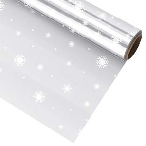 TOYANDONA Rouleau D'emballage de Cellophane de Noël 2. Sacs de Cellophane Décorés de Flocon de Neige de 5 Mil D'épaisseur pour Paniers Artisanat Friandises Emballage (3000X40cm) (Ronymar, neuf)