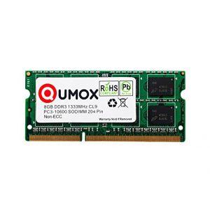 QUMOX 8 Go DDR3 1 333 8 Go PC3-10600 So-DIMM PC3 RAM mémoire d'ordinateur Portable 204pin CL9 (Ecom National Limited, neuf)