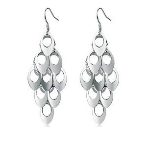 Longues boucles d'oreilles pendantes en argent sterling - Forme de chandelier - Motif de plumes de paon - Bijou de fête ou de mariage (honorjewelry, neuf)