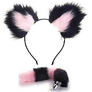 Peluches mignonnes oreilles de chat en bandeau serre-tête Fox TailB-ütt an-âl Pl-ùg T-ö-ys Fête à thème Halloween Cosplay Accessoires pour cheveux Accessoires Rose Noir (tyufgt6u, neuf)