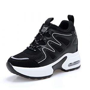 TQGOLD® Basket Femme Compensee Talon 8cm Chaussure de Sport Plateforme Sneakers Noir Taille 38 (Hanson Mastery, neuf)