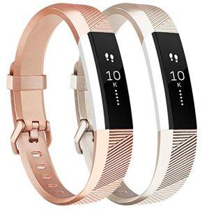 Tobfit Fitbit Alta Band Alta HR Bracelet Replacement en TPU Confortable Réglable Sport Bracelet Accessorie pour Fitbit Alta et Alta HR (2-Pack Gold+Rose Gold, Petit) (SMXMY-CN, neuf)