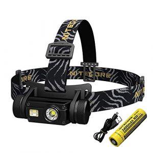 Nitecore HC65 Lampe Frontale Rechargeable USB Puissante 1000 Lumen 3 LED Blanche/Rouge/High CRI Batterie 18650 Incluse 5 Modes d'Eclairage IPX8 Lampe de Poche Legere pour Velo Randonnee Camping Pêche (MANVENTURE France, neuf)