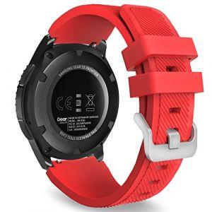 MoKo Gear S3 Frontier Smartwatch Bracelet en Silicone souple pour Samsung Galaxy Gear S3 Frontier / S3 Classic / Moto 360 2nd Gen 46mm Smart Watch, Pas compatible avec S2,S2 Classic,Fit2, Rouge (Guohe, neuf)