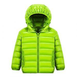 Chic-Chic Blouson Manteau Léger Enfant Garçon Fille Doudoune à Capuche - Veste à Manches Longues Sport bébé Ski Vêtement 13-14ans Vert (shadow791015, neuf)