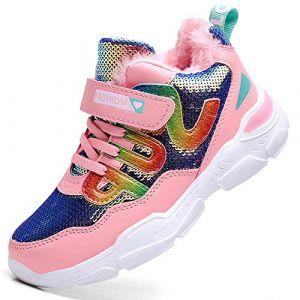 HSNA Baskets Mode Fille Légères Sneakers Paillettes Chaussures d'hiver Doublées Chaude(a1-1 Rose 37 EU) (HSNA, neuf)