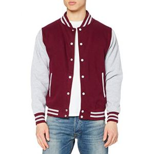 Just Hoods by AWDis Varsity Jacket, Blouson Homme, Rouge (Burgundy/Heather), Small (Tomscabin, neuf)