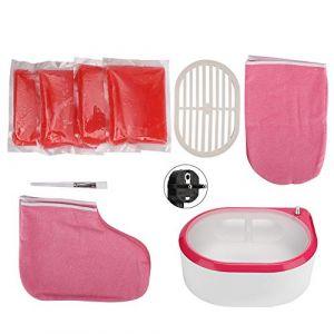 Réchauffeur de cire de bain de paraffine, haricots de cire électriques Chauffe-paraffine Kit de cire à la main hydratant avec recharge de cire Mitaines thermiques Gants pour la beauté (220V) (Kireina-eu, neuf)