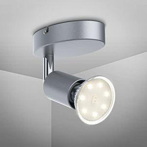 B.K. Licht plafonnier LED 1 spot orientable, applique murale LED salon salle à manger cuisine couloir chambre bureau, ampoule LED 3W GU10 incl, 250 Lm, lumière blanche chaude 3000K, 230V, IP20 (B.K.Licht, neuf)
