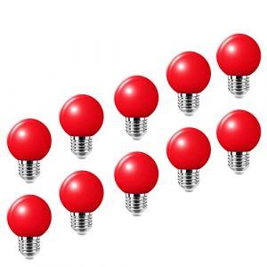 Lampe de golf rouge E27 LED petite ampoule Edison à vis couleur 2W, ampoule à économie d'énergie équivalente à une ampoule à incandescence de 20W, AC220-240V 10 packs (HUAMu, neuf)