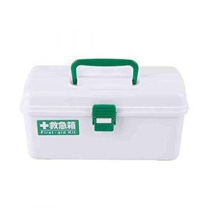 Boîte de rangement pour boîte à médicaments, boîte à médicaments pour voiture, boîte de rangement portable à couches superposées, boîte de secours médicale, plastique, blanc-White (GQP Boutiques, neuf)