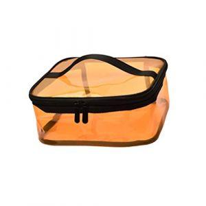 Lurrose trousse de maquillage transparente avec pochette de maquillage étanche à glissière grande capacité trousse de toilette cosmétique pochette de voyage (jaune) (Veronicoar, neuf)