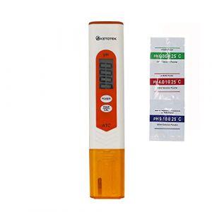 KETOTEK pH Mètre Electronique Numérique Portable Testeur Température pH Test Meter avec Solution étalonnage ATC Testeur Eau Potable Aquarium (KETOTEK Store, neuf)