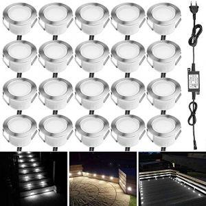 Spot à Encastrable Lampe de sol-Lumière(Blanc Froid) étanche IP67 1W Ø45mm-éclairage pour terrasse, patio, chemin, mur, jardin, décoration, intérieur et extérieur(Lot de 20) (INDARUN-EU, neuf)