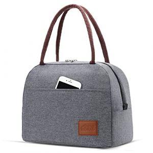 Moyad Sac Repas Isotherme Femmes Fourre-Tout Glacière à Déjeuner Réutilisable Lunch Bag Classique 12L Gris (S-MART LIFE, neuf)