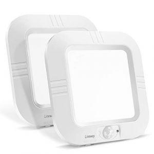Lineway Plafonnier LED à Détecteur de Mouvement Sans Fil à Piles Lampe de Plafond Éclairage intérieur Daylight marche/arrêt automatique pour de les placards sous-sol (paquet de 2) (Lineway, neuf)
