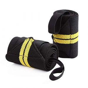 AINOLAN Protège-Poignet Sport Bracelet Bande Poignet – Bande de Support Poignet pour Haltérophilie, Musculation, Gymnastique, Bodybuilding, Crossfit (Jaune) (HaoKongFu, neuf)