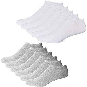 YouShow Chaussettes de Basket Hommes Femmes 10 Paires Chaussettes mi Chaussettes Courtes Coton Unisexe OEKO-TEX Standard 100(Blanc et Gris,47-50 EU) (YOUSHOW, neuf)