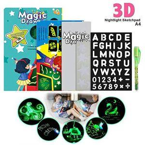 Magique Lumineuse Planche à Dessin Tableau d'écriture lumineux fluorescent Dessine avec de la lumière et développe des jouets éducatifs pour les enfants(A4 23.2 * 1.5 * 33.2cm) (va8.domain, neuf)