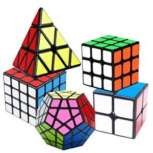 Coolzon Speed Cube Rubiscube, Ensemble de Cubes 2x2 3x3 4x4 Pyraminx Pyramide Cube Megaminx, Cube de Vitesse Paquet de 5 (WUXU, neuf)