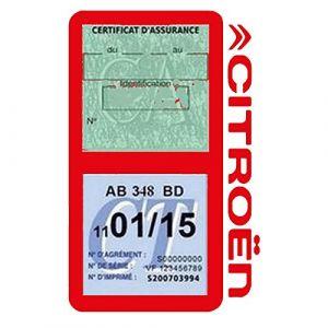Générique Étui Double Assurance Citroën Rouge Porte Vignette adhésif Voiture Stickers Auto Retro (Stickers-auto-retro, neuf)