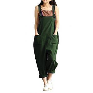 StyleDome Femme Coton Casual Large Ample Harem Sarouel Pantalon Combinaison Salopette Jumpsuit Vert 2XL(EU 46) (Athenawin, neuf)