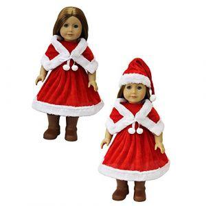 ZITA ELEMET® 1 Set Jupe Robe de Noël + Chapeau Pour 18 pouces Poupée American Fille 45-46cm poupée bébé Fêtes de Noël Costume (ZITA GIFTSHOP EU, neuf)