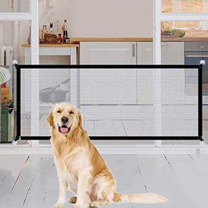 Magic Gate Pet Dog Safe Guard, Barrière de Sécurité Chien, Animal Domestique Rétractable Barrières pour Escalier Cuisine Portable Pliable Installer n'importe Où (Noir) (Home Grandmaster-UK, neuf)