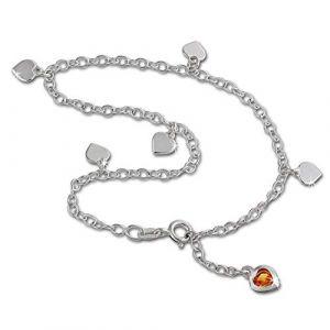SilberDream bijoux collection - chaîne de pied coeur de la couleur ambre - longeur env. 25cm - Bracelet de cheville SDF2015Y (Fit4Style Bijoux-en-argent, neuf)