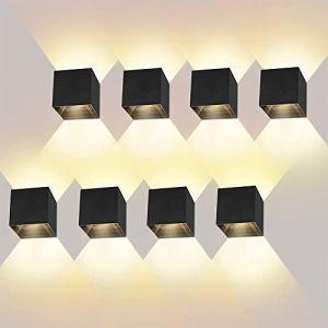 ? Pièces Applique Murale Interieur/Exterieur 12W Blanc Chaud 3000K Angle de Faisceau Réglable Appliques Murales Noire Lampe Murale Etanche IP65 (ezon europe, neuf)