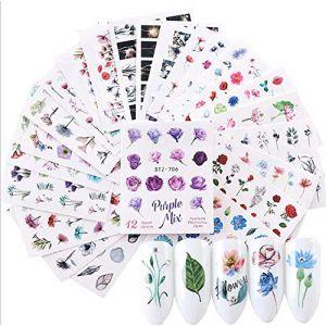 CAOLATOR 24Pcs Nail Art Stickers Fleur Autocollants De Transfert à Eau D'Ongles Feuilles 3D Design Autocollants pour Ongles Manucure DIY Décalque D'ongle Autocollant Tips Décoration Couleurs (LILI DA, neuf)