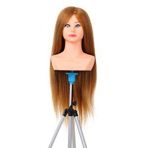 Anself Tête à coiffer Tête d'exercice Tête d'étude à coiffer 100% Cheveux naturels Coloris brun Tête à coiffer d'apprentissage (Or) (alyou, neuf)