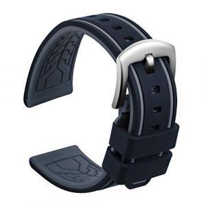 Ullchro Bracelet Montre Remplacer Silicone Bracelet Montre Bicolore - 20, 22, 24, 26mm Caoutchouc Montre Bracelet avec Acier Inoxydable Boucle Argent (26mm, Noir et Gris) (Ullchro-EU, neuf)
