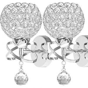 ALLOMN Applique de Style Moderne, Applique Pendentif Cristal Chambre Allée Salon Applique Titulaire Prise E14 (Ampoule non Incluse) (Aucun Interrupteur à Tirette, 2 PACK) (LongingAge, neuf)