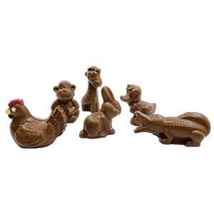 LOT DE 5 MINI SUJET chocolat de PAQUES lapin poule canard crocodile - CHOCOLAT DE PAQUES (CHOCODIC, neuf)