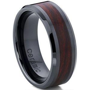 Ultimate Metals Co. Bague de Mariage en Céramique Noire avec Incrusté du Bois Unisexe, 8mm Intérieur Confort Taille 64.5 (Ultimate Metals Co., neuf)
