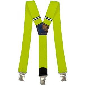 Bretelles Y entièrement réglable pour Homme Femme 4 cm avec 3 clips élastique Solide Casual Pantalon Jeans Différentes couleurs Noir, Marron, Bleu (Jaune Neon) (Decalen France, neuf)