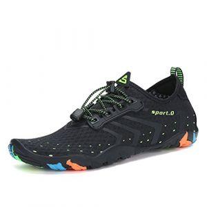 SAGUARO Homme Chaussures Aquatique Femme Chaussons de Plage de d'eau Bain Soulier Séchage Rapide Antidérapant Noir 44 (Walisen, neuf)