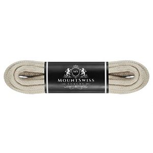Mount Swiss Luxury-, 1 paire de lacets ronds en 100% coton, indéchirables, Ø 3 mm – 4 mm, longueurs 45–200 cm 130 cm beige clair (fortuna-fashion, Preise inkl. MwSt., neuf)