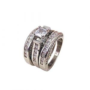 KEATTL Bague Femme,Simple Créatif 3 En 1 Argent Diamant Zircon Ensemble Anneau La Mode Couple Bijoux (7, Argent-A) (KEATTL, neuf)