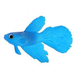 Aquarium Bol De Poisson en Plastique De Natation Poisson Or Betta Poisson Drôle Artificielle en Silicone Petit Poisson Réaliste Faux Poisson Fish Tank Décoration Ornements(Betta Bleu) (Smandye, neuf)